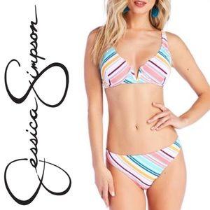 Jessica Simpson Candy Crush Stripe Bikini Swimsuit